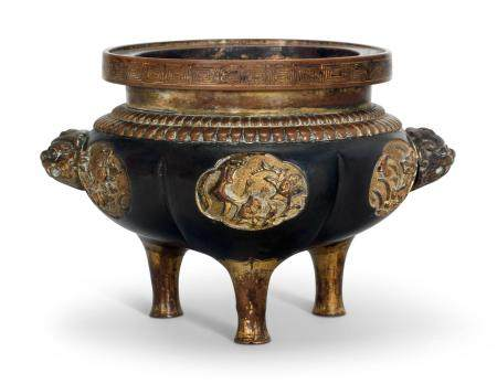 A CHINESE PARCEL GILT-BRONZE AND COPPER TRIPOD CENSER