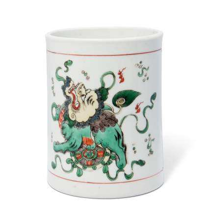 A CHINESE FAMILLE VERTE BRUSHPOT