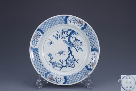 A Chinese Blue and White Flower&Bird Pattern Porcelain Plate