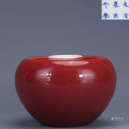 A Chinese Red Glazed Porcelain Apple-shaped Zun