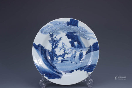 A Chinese Blue and White Figure Painted Porcelain Plate