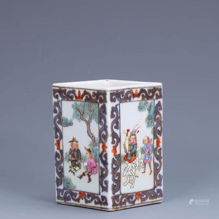 A Chinese Famille Rose Figure Painted Porcelain Square Brush Pot