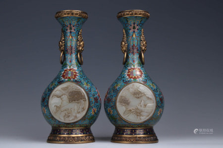 A Pair of Chinese Jade Inlaid Cloisonne Vase