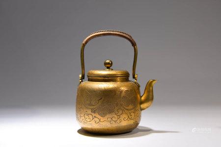 A Chinese Bronze Gilt Loop-handled Pot