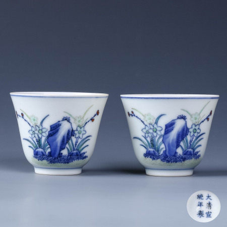 A Pair of Chinese Doucai Floral Porcelain Cup
