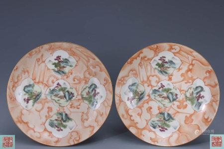 A Pair of Chinese Stone Grain Landscape Porcelain Plats