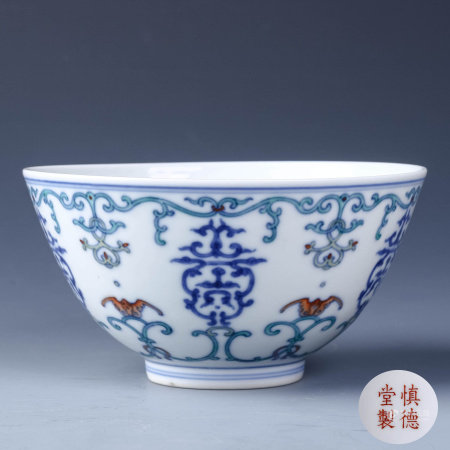 A Chinese Doucai Floral Porcelain Cup
