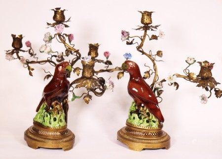 Pr Whieldon Parrots Ormolu & Porcelain Candelabra