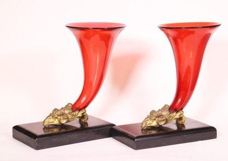 Pr English 19 C Cranberry Glass- Bronze Cornucopia