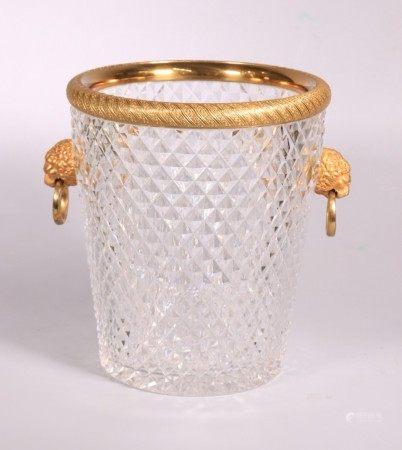 French Baccarat Ormolu & Cut Glass Ice Bucket
