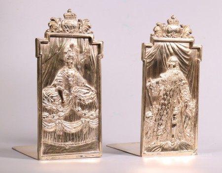 Pr European Silvered Book Ends Louis XIV & Marie