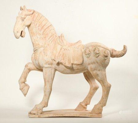 Large Chinese Buff Pottery Caparisoned Horse