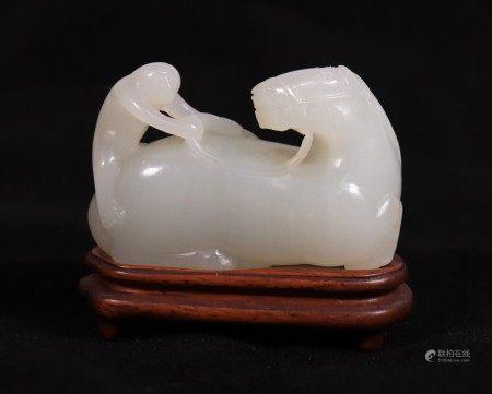 Fine Chinese White Jade Horse & Monkey Toggle