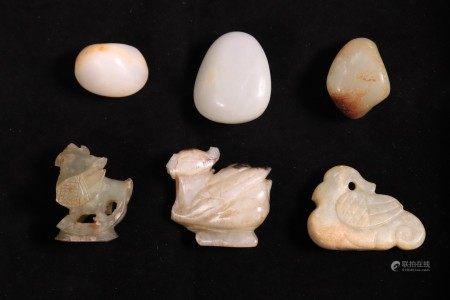 3 Chinese Ming or Earlier Jade Birds; 3 Pebbles