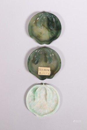 3 Chinese Qing Jade Jadeite Palate Dishes