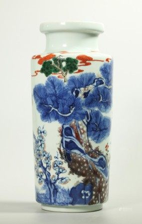 Chinese Wucai Blue & Red Porcelain Sleeve Vase