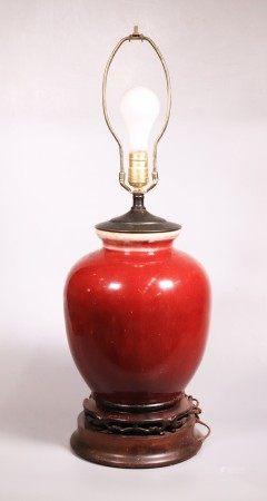 Chinese Langyao Underglaze Red Porcelain Vase Lamp