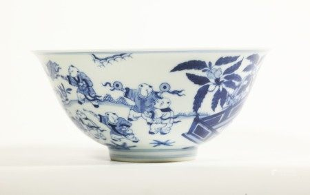 Sotheby's Chinese Blue & White Bowl Qianlong Mark
