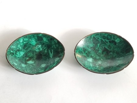 Antique Russian Malachite Pair Dishes