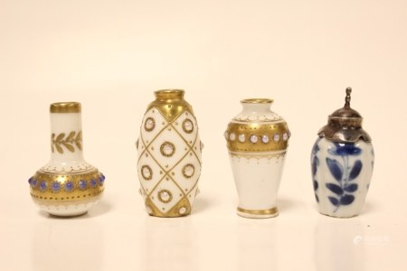 4 Silver Mount and Enamel Miniature Vases