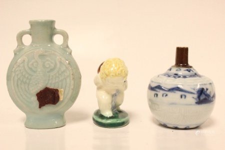 3 Miniature Porcelain Vase and Figurine