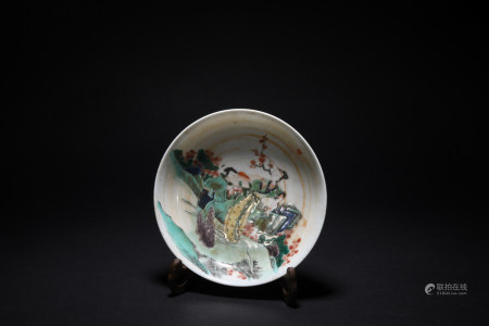 Qing Dynasty Emperor Kangxi colorful figure plate