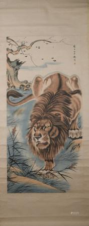 Qing dynasty Yang jin's lion painting