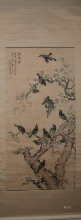 Qing dynasty Wang wu's flower and bird painting