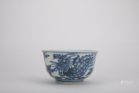 Ming dynasty blue and white bowl with phoenix pattern