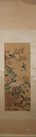 Qing dynasty Yun bing's flower and bird painting