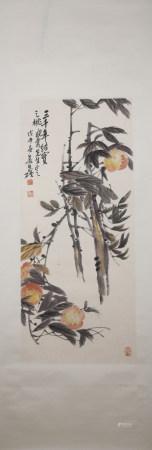 Modern Wu changshuo's birthday peach painting