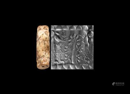 Western Asiatic Late Kassite Cylinder Seal with Tree and Bea