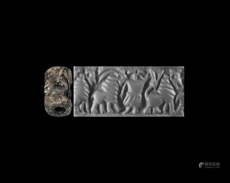 Western Asiatic Archaic Cylinder Seal with Figures