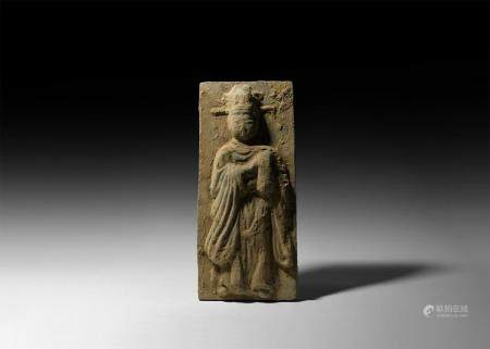 Chinese Song Terracotta Tile with Courtly Lady