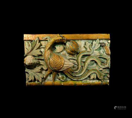 Chinese Ming Glazed Tile with Phoenix