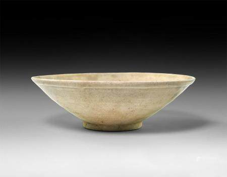 Large Chinese Tang Celadon Ware Bowl with Rippled Glaze