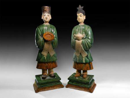 Chinese Ming Attendant Figure Pair
