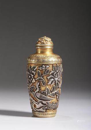 A GILT SILVER FLOWERS AND BIRDS SNUFF BOTTLE