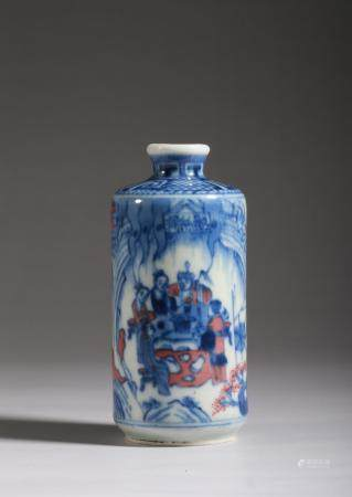 A BLUE AND WHITE AND COPPER-RED FIGURES SNUFF BOTTLE