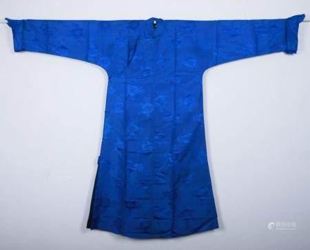 A BLUE GROUND SATIN ROBE