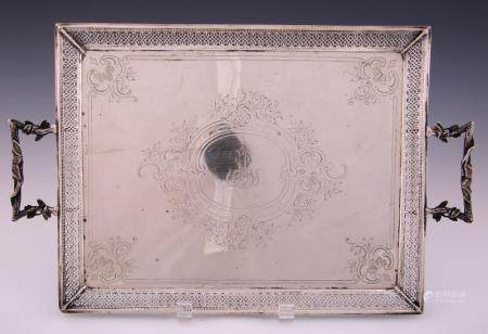19TH C. FRENCH STERLING SILVER TRAY - HS SILVERSMITH