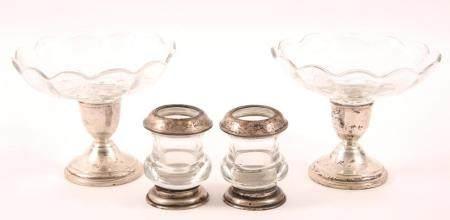 PREISNER & WHITING STERLING SILVER GLASS HOLLOWARE