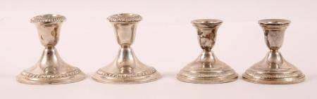 STERLING SILVER WEIGHTED CANDLESTICK SETS - LOT OF 2