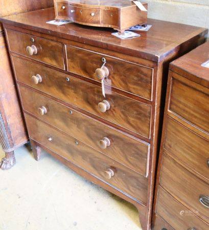 A Regency mahogany chest, W.102cm, D.46cm, H.103cm,CONDITION: One turned wood knob handle detached