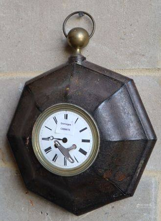 A French Tole clock, c.1840, W.35cmCONDITION: The metal is worn on the moulded ridges, the