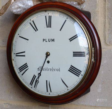 A Victorian mahogany fusee wall dial, marked 'PLUM Maidenhead', diameter 36cm MhoCONDITION: Convex