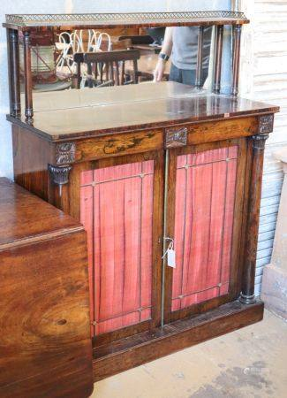 A Regency rosewood mirrored back chiffonier, W.96cm, D.36cm, H.125cmCONDITION: The superstructure