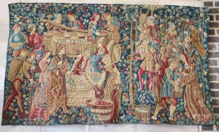 A 17th century style polychrome tapestry wall hanging, W.200, H.115cm