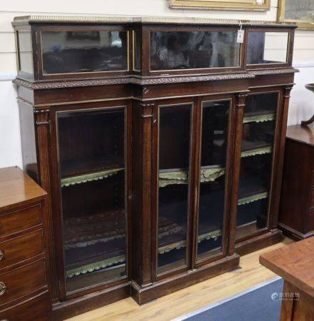A late Victorian mahogany breakfront display cabinet, W.184cm, D.40cm, H.161cm