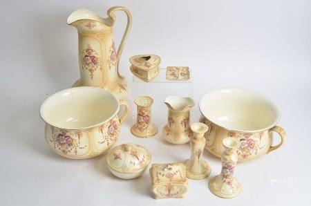 A Royal 'Crown Devon Fielding's 'Spring' pattern dressing table set, to include two chamber pots,